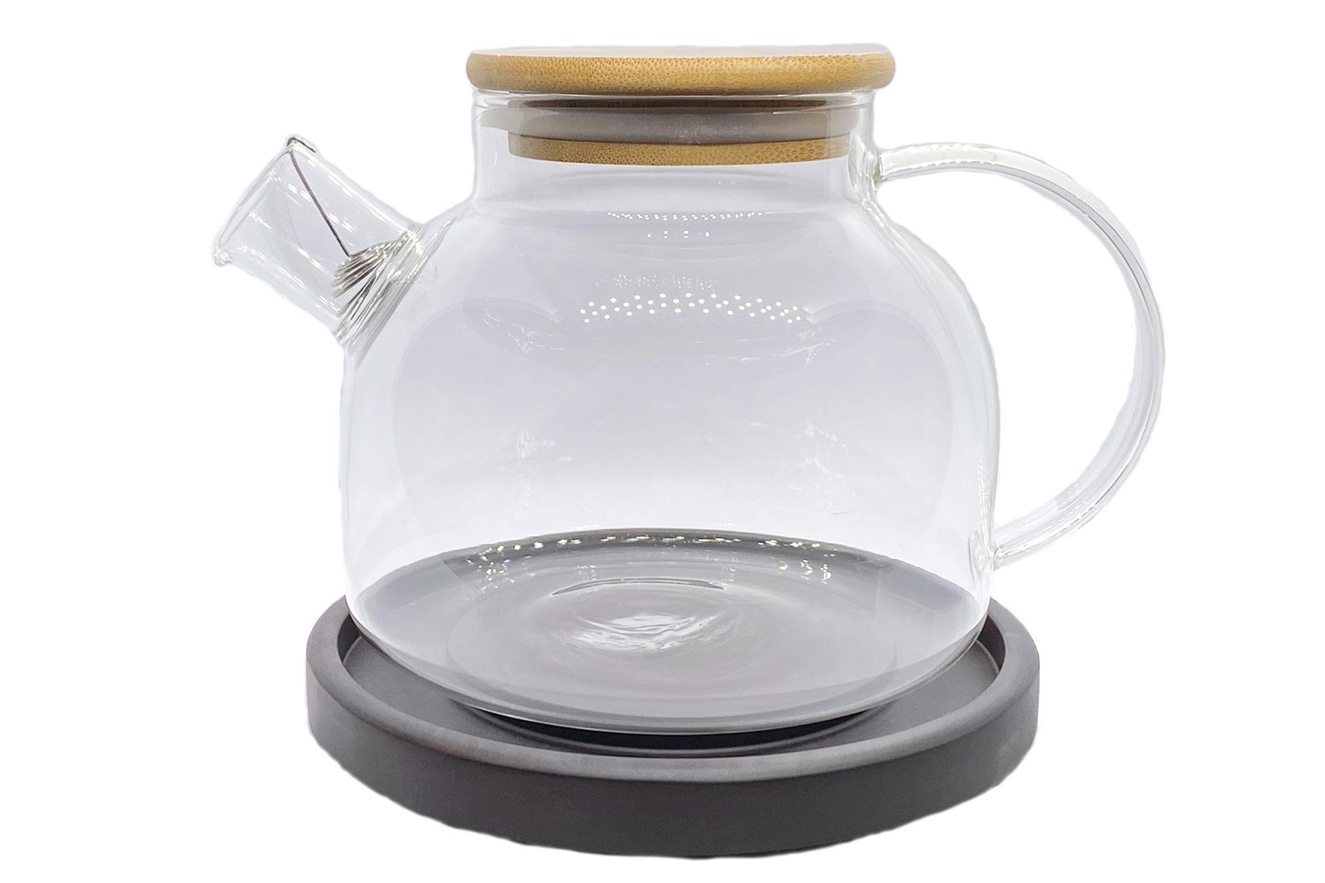 Чайник стеклянный с деревянной крышкой 1000 мл.