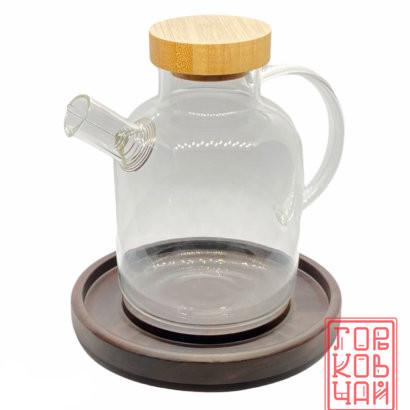 Чайник стеклянный с деревянной крышкой 600 мл.